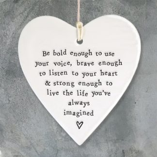 image of hanging heart be bold enough to use your voice by East of India