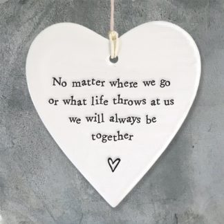 image of hanging heart no matter where we go