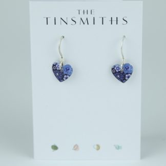 image of The Tinsmiths Forget Me Not Tiny Heart Drop Earrings