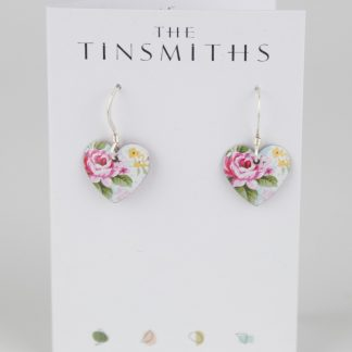 image of The Tinsmiths Rose Heart Drop Earrings