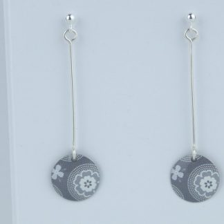 image of The Tinsmiths Scandi Grey Stud and ball long disc earrings