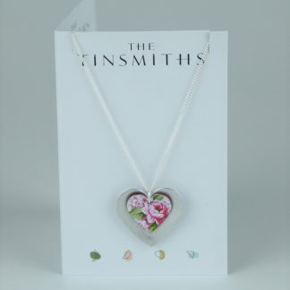 image of The Tinsmiths Rose Double Heart Pendant
