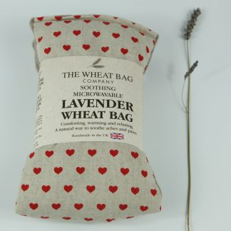 image of Microwavable Wheat Bag – English Lavender Scent – Red Hearts