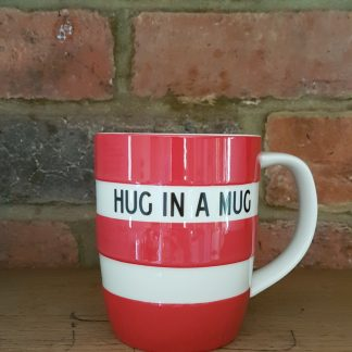 image of red cornishware 12oz mug, hug in a mug