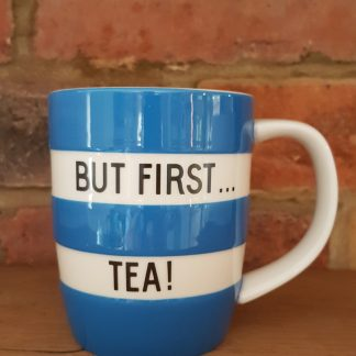 image of blue conrishware 12oz mug but first tea