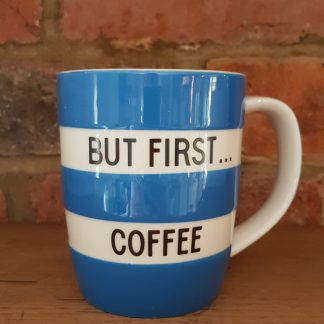 image of blue cornishware 12oz mug But First Coffee