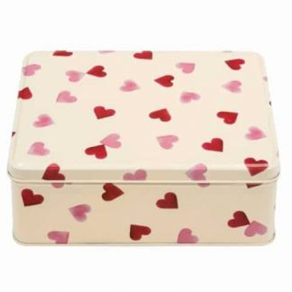 image of Emma Bridgewater Pink Hearts Deep Rectangular Tin