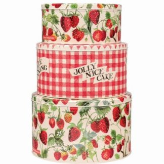 image of Emma Bridgewater Strawberries Set of Three Cake Tins